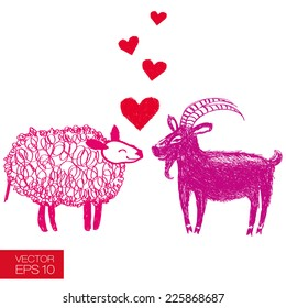 Hand drawn funny goat and sheep fall in love. Graphic careless style. Useful for unusual extraordinary greeting cards for new year's day or St. Valentine's day