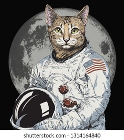 Hand drawn funny hipster cat astronaut vector illustration