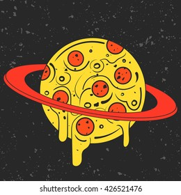 Hand drawn funny illustration of pizza-looking planet in space. Modern fast food stylish logotype or eating icon. Isolated vector illustration, perfect for print, posters, t-shirts and textile.