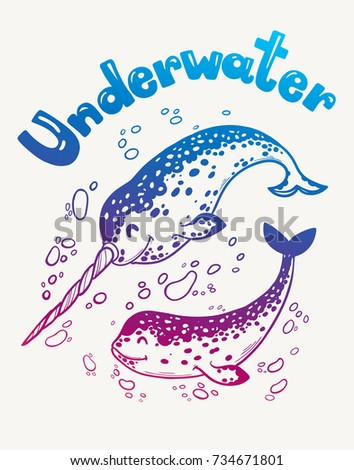 Hand Drawn Funny Narwhal Unicorn Of Sea Print Cards Poster Art