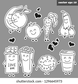 Hand drawn funny outlined character stickers. Vegetables and fruits - banana, apple, carrot, tomato, biscuit, coffee, cocolate, pop corn,  eggplant. Sticker set