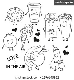 Hand drawn funny outlined characters. Vegetables and fruits - banana, apple, carrot, tomato, biscuit, coffee, cocolate, pop corn, eggplant. Love concept. Valentine day cebration stickers. Vector.