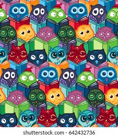 Hand Drawn Funny Owl with Book seamless pattern. Owls Learning subject for print, fabric, wrap and illustration, game, web and children items. Vector