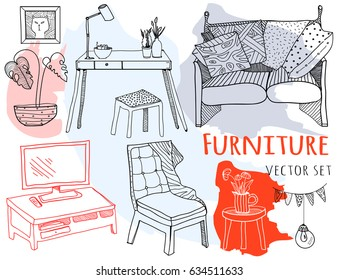 Hand drawn furniture. Graphic vector set. Colored elements