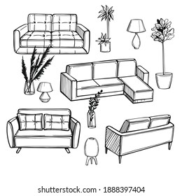 Hand drawn furniture, lamps and plants for the home. Vector background.