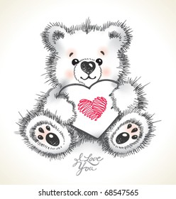Hand drawn furry teddy bear with a heart in paws. Vector illustration.