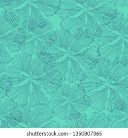 Hand drawn garden flover, blueprint line art. Vector seamless pattern, two color pattern tile, blue and turquoise.