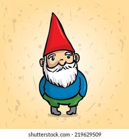 Hand drawn garden gnome. Hands in his pockets. Cartoon vector illustration.