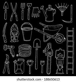Hand drawn garden tools, Spring gardening, sketch