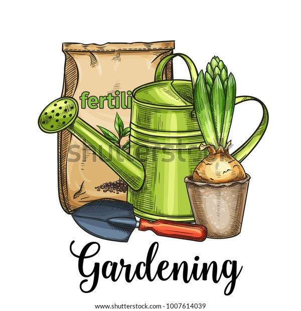 Hand Drawn Gardening Banner Watering Can Stock Vector Royalty Free 1007614039