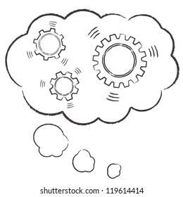Hand drawn gears inside a thought bubble