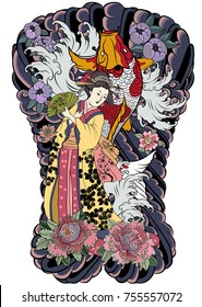 Hand drawn geisha women hold fan.Japanese women in kimono with cherry blossom and koi carp.Traditional Japanese tattoo style.colorful art and doodle vector.