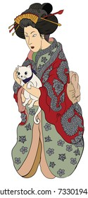 Hand drawn geisha women hug kitten.Japanese women in kimono with her cat.Traditional Japanese tattoo style.colorful art and doodle vector.