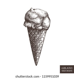 Hand drawn gelato illustration on white background. Vector Italian ice cream drawing. Vintage desserts sketch for cafe or restaurant menu design.