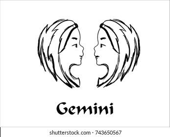 Hand Drawn Gemini Zodiac Sign in Sketch and line art
