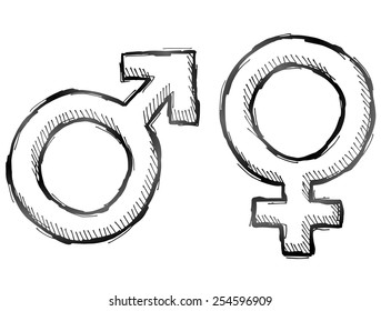 Hand drawn gender symbols. Sketch of man and woman signs in doodle style. Qualitative vector illustration about man, woman, sex differences, relationship, gender role, sexual orientation, etc