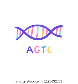 Hand drawn genome sequencing illustration. Human dna research technology symbol. Nano technology concept made in vector. Human genome project.