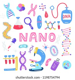 Hand drawn genome sequencing illustration. Human dna research technology symbols. Nano technology concept made in vector. Human genome project.