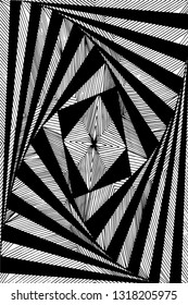 Hand drawn geometic paradox pen drawing in black and white. Suitable as a coloring page for an adult coloring book. Vector comes with transparent backing.