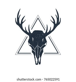 Hand drawn geometric label with deer skull with antlers textured vector illustration.