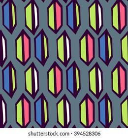 Hand drawn geometric seamless pattern.