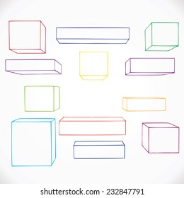 Hand drawn geometric shapes, outline. Vector illustration.