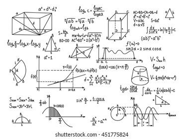 Hand drawn geometry formulas Science knowledge education.