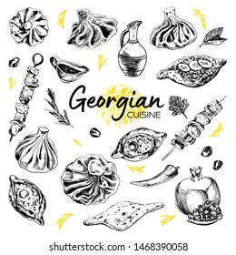 Hand Drawn Georgian Cuisine. Vector illustration of a Georgian food with Dumpling, Khinkali, khachapuri and barbecue