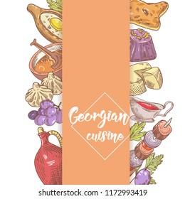 Hand Drawn Georgian Food Menu Design. Georgia Traditional Cuisine with Dumpling and Khinkali. Vector illustration