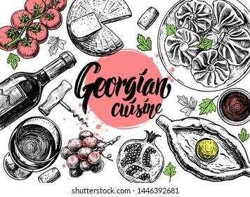 Hand drawn Georgian food menu on white background