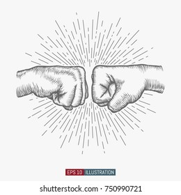 Hand drawn hand gesture. Fist to fist symbol. Linear vintage style sun rays background. Template for your design works. Engraved style vector illustration.