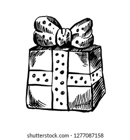 Hand drawn gift box with a big ribbon bow, Gift doodle. Gift box in a sketch style. Polka dot ribbon