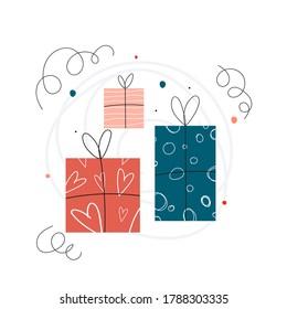 Hand drawn gift boxes set. Holiday card vector illustration.