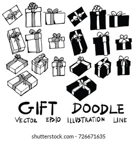 Hand drawn gift isolated. Vector sketch black and white background illustration icon doodle