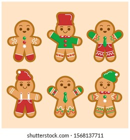 Hand drawn gingerbread man cookie collection Vector