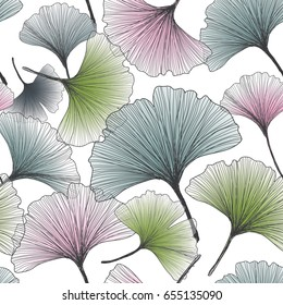 Hand drawn gingko biloba vector background seamless pattern.