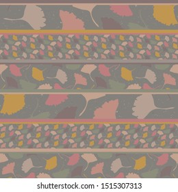 Hand drawn gingko leaf patchwork stripe  seamless pattern. Homespun quilt style in spice color neutral muted tones. All over print. Home decor, fashion, wallpaper. Autumnak zakka craft textile fabric