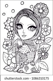 Cute Girl Unicorn Roses Garden Outline Stock Vector Royalty Free