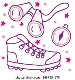 Hand drawn girl pathfinder equipment -  pink hiking boots, fieldglasses, compass, pink stars and rose dots.