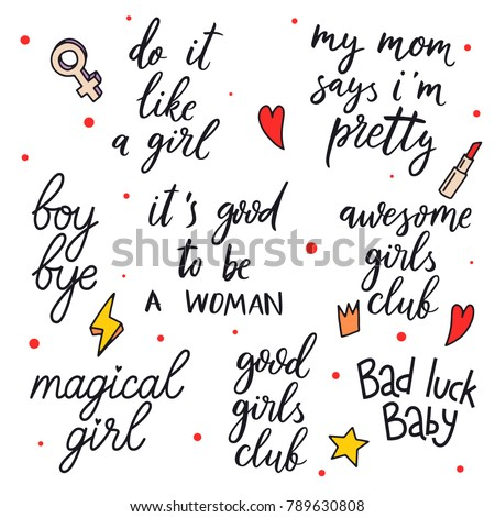 Hand Drawn Girls Quotes Do Like Stock Vector Royalty Free