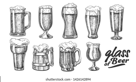 Hand Drawn Glass With Foam Bubble Beer Set Vector. Glass And Wooden Goblet With Alcoholic Cold Beverage Light Lager Or Ale. Closeup Monochrome Tavern Mug With Drink Template Cartoon Illustration