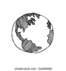 hand drawn global Isolated illustration on white background