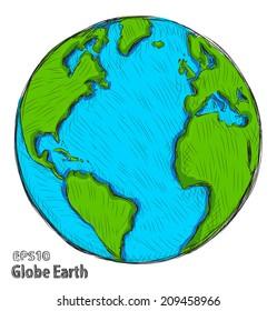 Hand drawn Globe Earth. Vector illustration