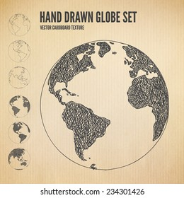 Hand drawn Globe icon set. Planet earth in different views of the continents illustrations in cardboard texture background. Outline and scribbles in different layers. Vector design elements.