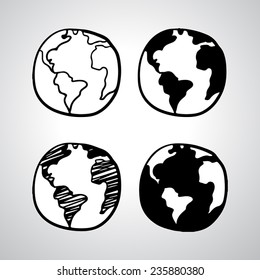 Hand drawn globe icon. Vector illustration