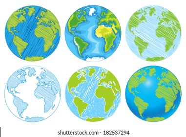 Hand drawn Globe. Sketch illustration of planet earth. Vector illustration. Isolated on white background