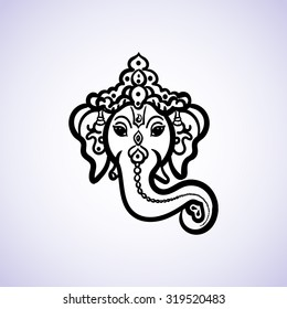 Hand drawn God Ganesh Indian style black on a white background with a place for your text. For invitations, save the date or wedding card design. Yoga Meditation Logo Graphic. Vector illustration