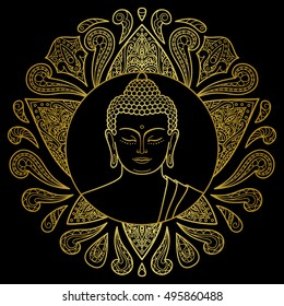 Hand drawn gold Buddha head with lotus decoration. Sign for tattoo, textile print, mascots and amulets.