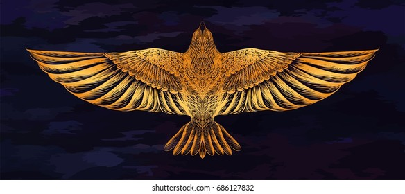Hand drawn gold dove on the dark blue background. Boho chic. Vector illustration. Design for tattoo art, print for t shirt, sketch of jewelry. Symbol of freedom.