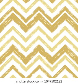 Hand drawn gold ink abstract striped seamless pattern. Vector grunge texture. Paint brush zigzag on white background